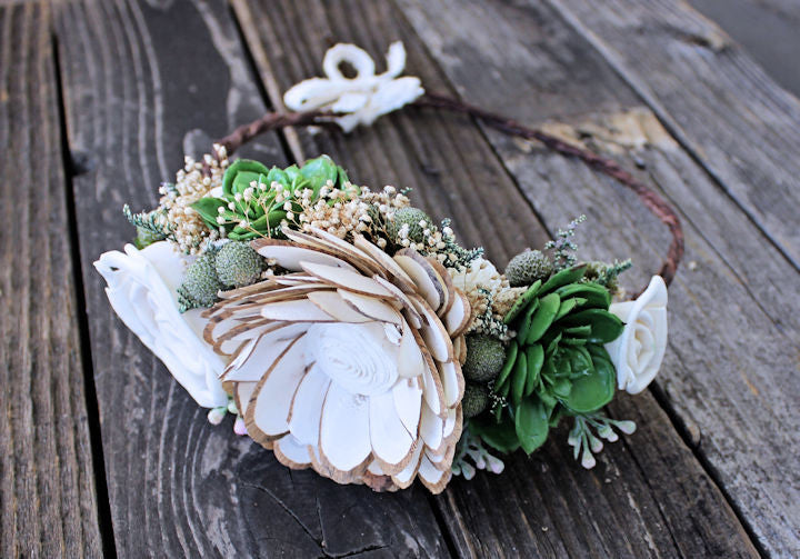 Boho Bridal Flower Crown, Sola Flowers, Succulents, Flower Girl, Wedding Hair Accessory
