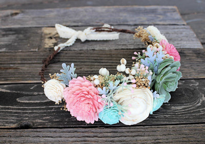 Boho Bridal Sola Flower Crown, Succulents, Flower Girl, Wedding Hair Accessory, Bridal Portraits