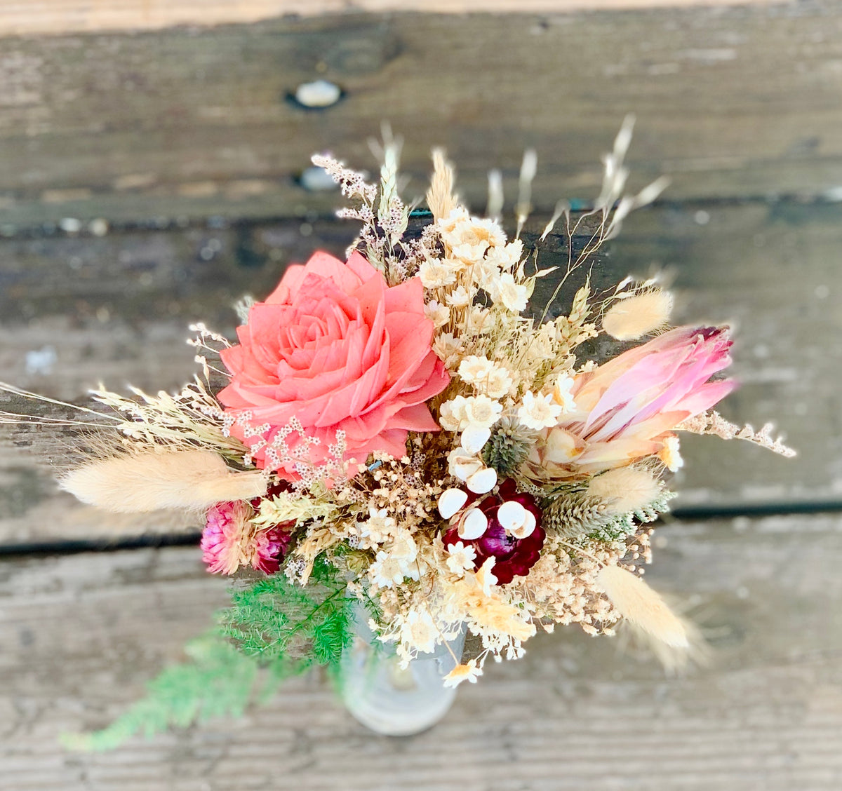 Pink dried flower bouquet- star flowers, bunny tale, dahlia sola flowers, rice grass