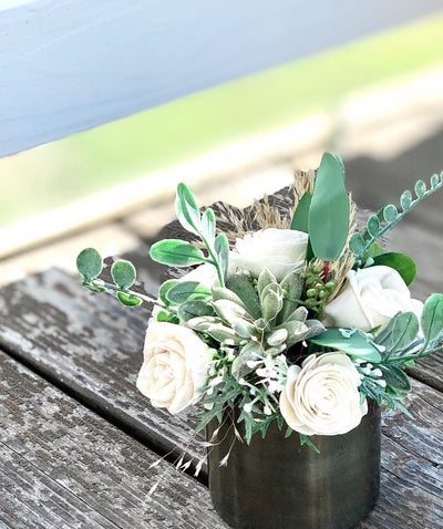 Small succulent sola wood flower arrangement, modern farmhouse
