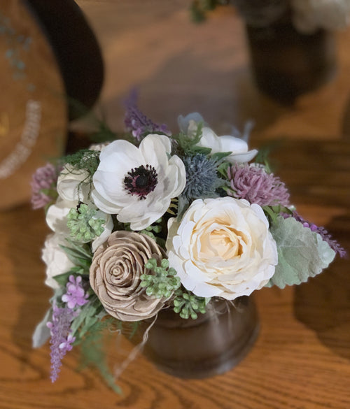 Dried Wildflower arrangement, anemone, lavender, Sola Flowers, Wedding Centerpiece, Baby Shower, Bridal Shower Birthday Flowers Home decor