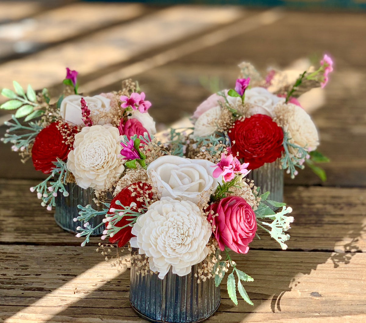 Small Sola Flower Floral Arrangement, Wedding Reception Centerpiece