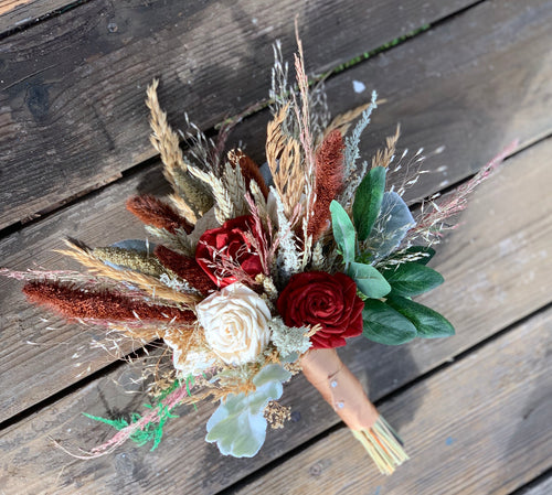 Silk & Sola Wood Flower, Dried grass, Wheat, Millet, Dessert Bridesmaid Bouquet