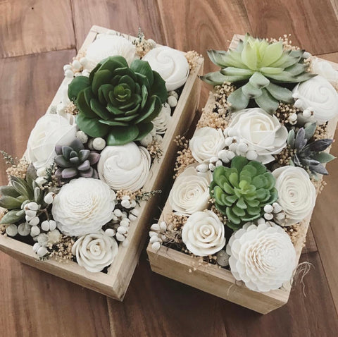Artificial Succulent & Sola Flower arrangement, home decor