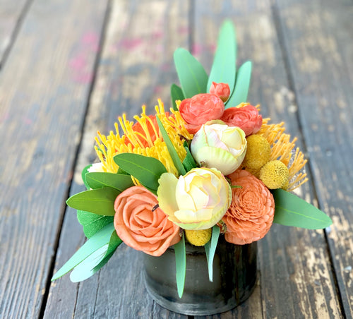 Silk flower arrangement, pincushion protea, orange, Sola Flowers