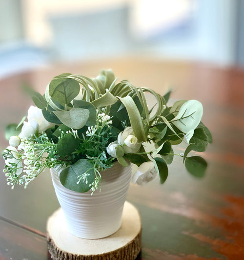 Ivory Silk Flower and Eucalyptus Arrangement RENTAL ITEM