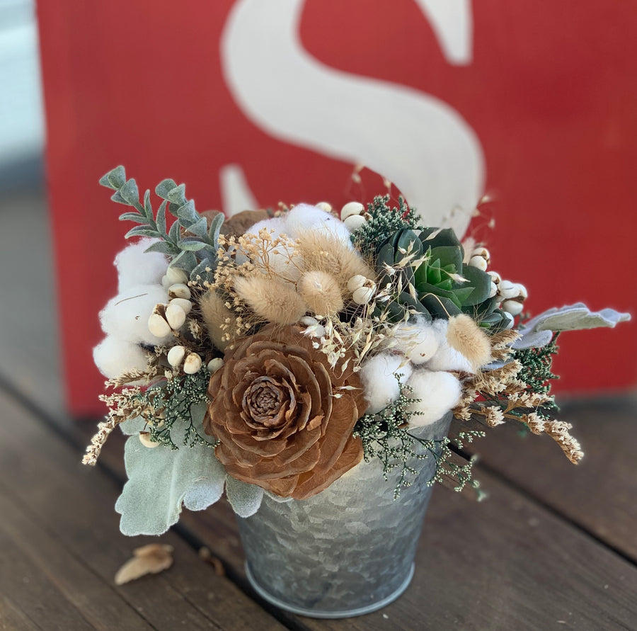 Dried Wildflower arrangement, Pinecones, Cotton, Sola Flowers, Wedding Flowers