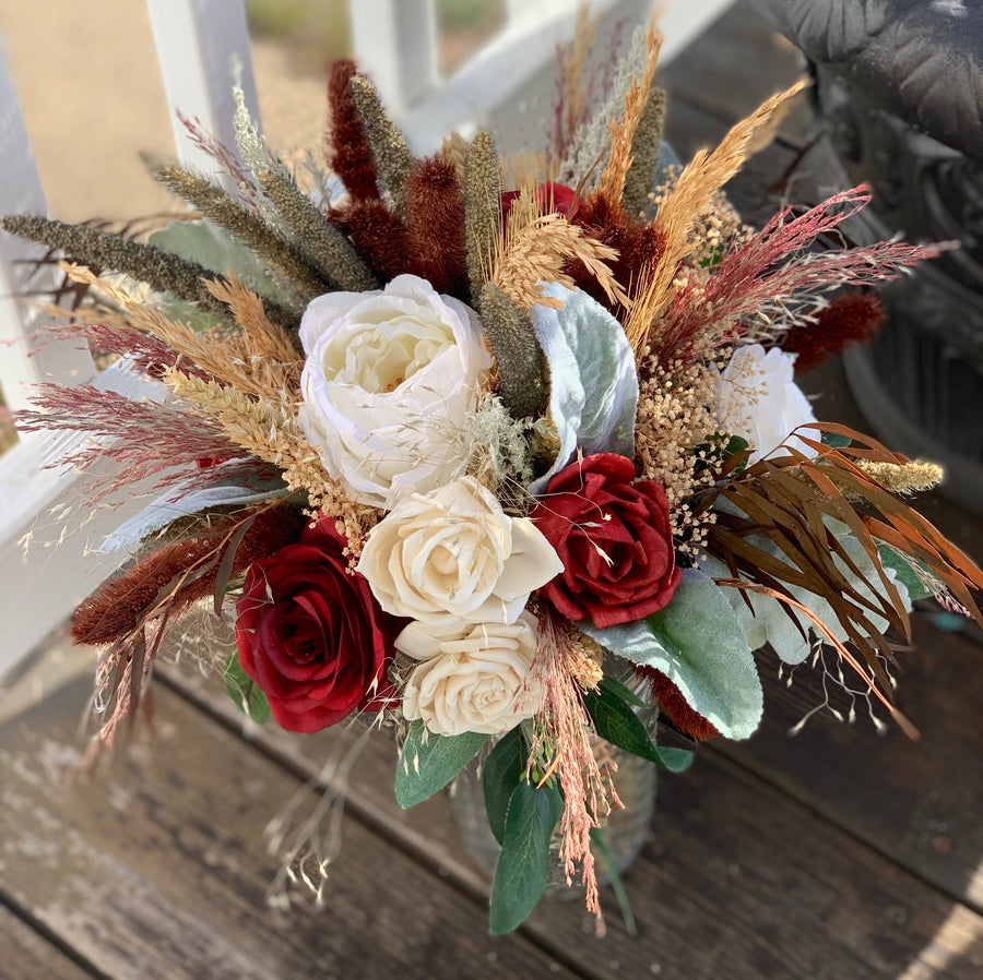 Silk & Sola Wood Flower, Dried grass, Wheat, Millet, Dessert Bridal Bouquet