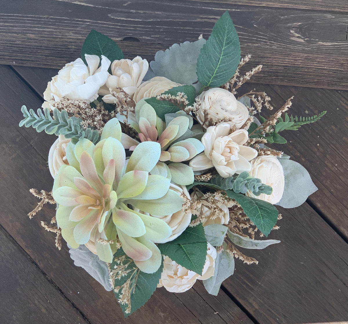 Faux succulent and sola wood flower arrangement, Wedding Flowers Birthday Flowers