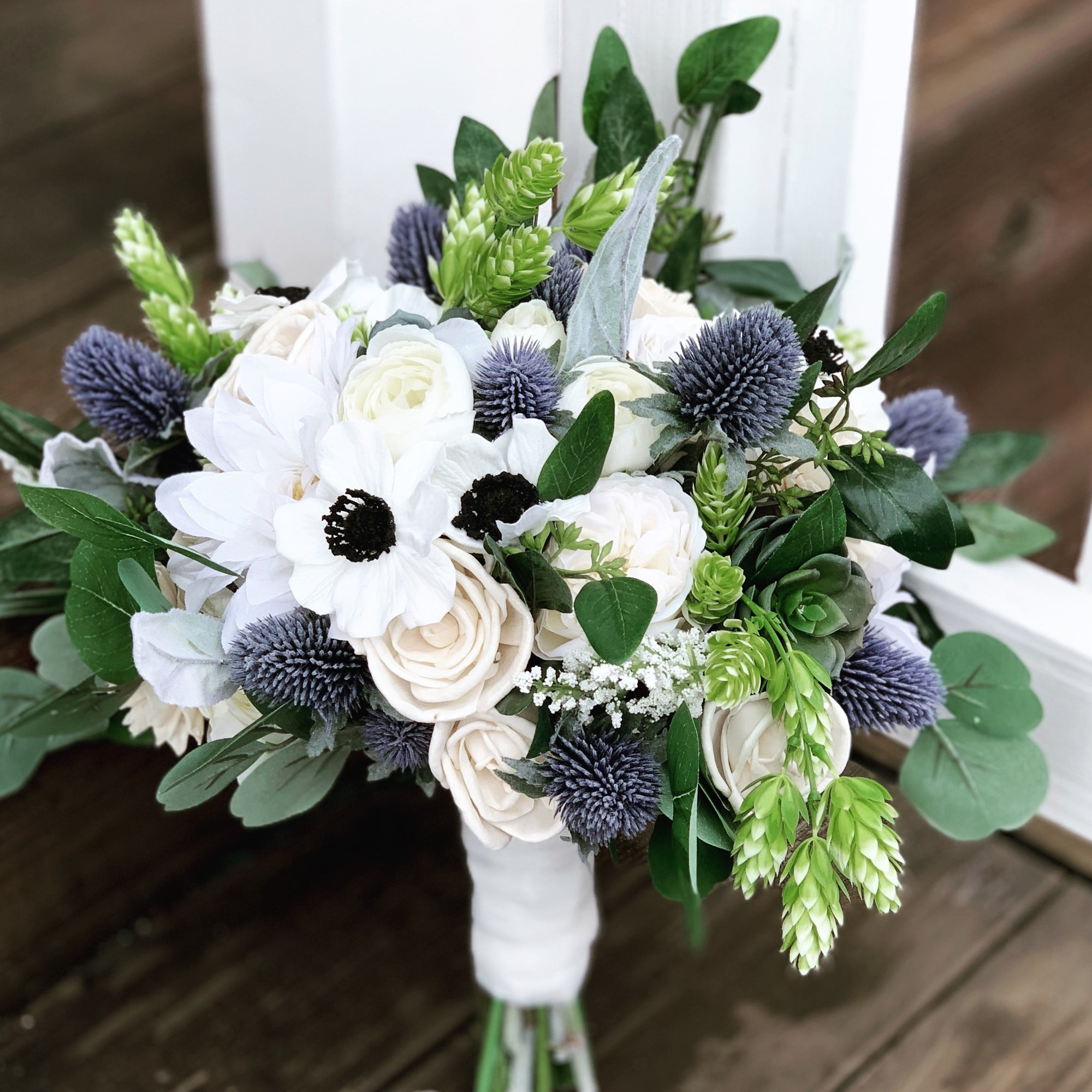 Silk Sola Wood Flower Bridal Bouquet Faux Succulents Anemonies Co Curiousfloral