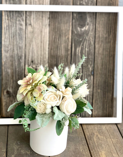 Succulent ivory floral arrangement, silk flowers, Sola Flowers, Birthday Flowers