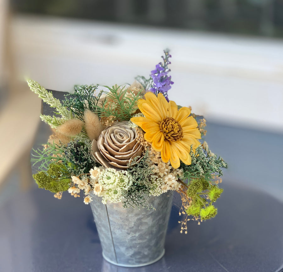 Dried Wildflower arrangement, sunflowers, lavender, Sola Flowers, Wedding Flowers Birthday Flowers