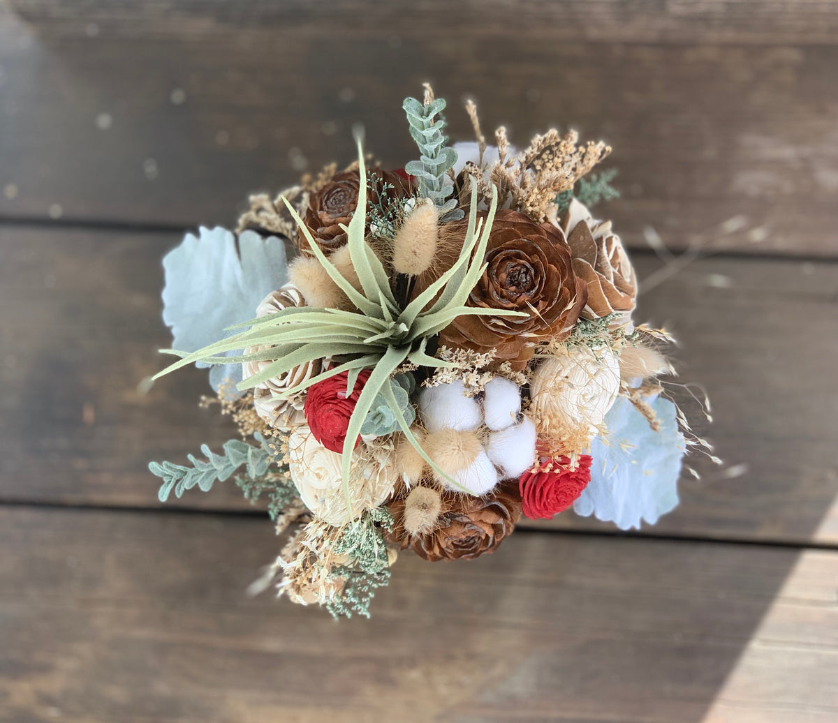 Dried Wildflower arrangement, Air plant, Pinecones, Cotton, Sola Flowers, Wedding Flowers