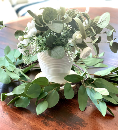 Real Touch Silver Seeded Eucalyptus Candle Ring/Wreath RENTAL ITEM