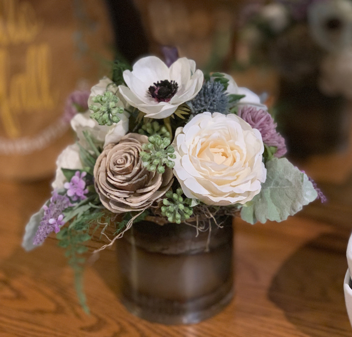 Dried Wildflower arrangement, anemone, lavender, Sola Flowers