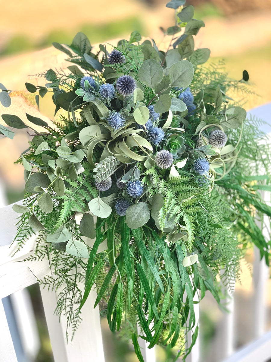 Statement Cascading Silk Eucalyptus Fern Thistle and Air Plant Succulent Bridal Bouquet