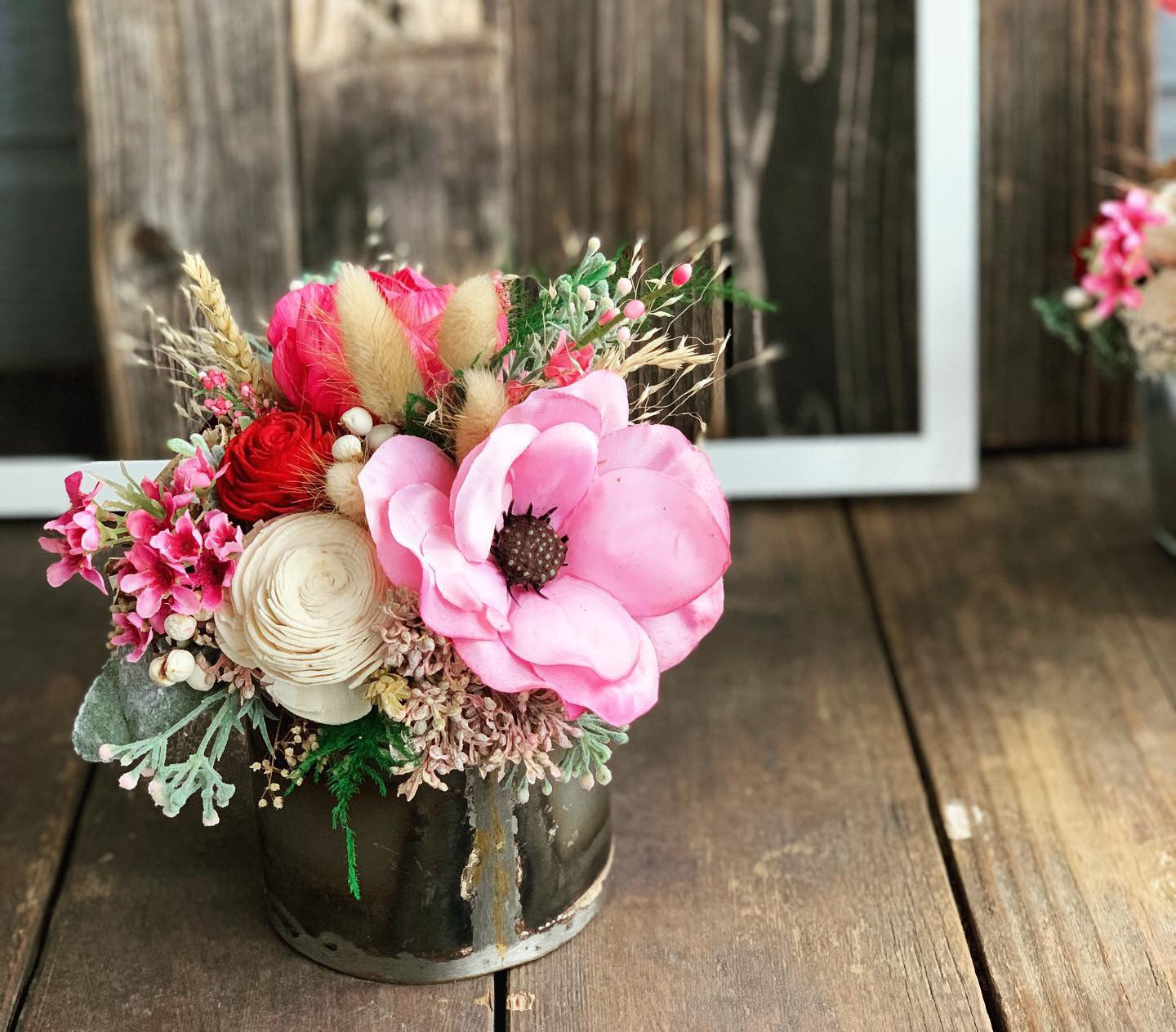 Valentines Day Galentines Day Floral Arrangements Silk And Wood