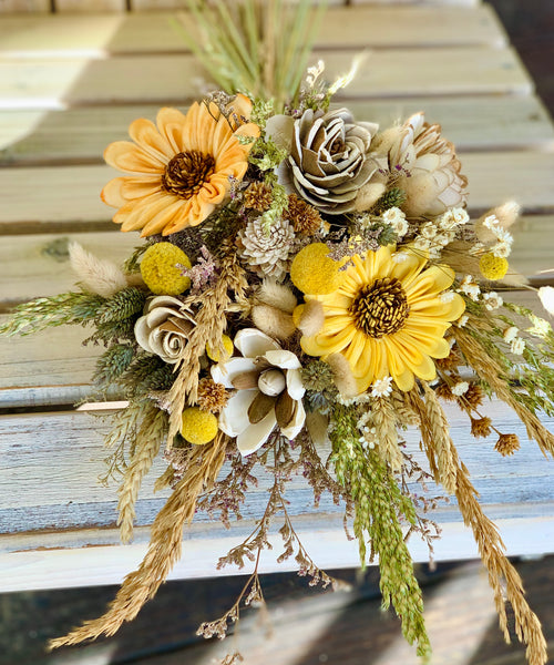 Dried flower bouquet- star flowers, bunny tale, sunflowers, sola flowers, rice grass