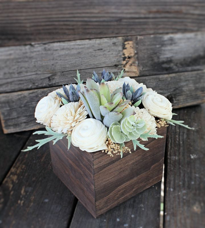 Large Artificial Succulent Sola Flower arrangement, centerpiece, wood planter, home decor