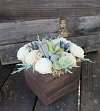 Large Artificial Succulent arrangement, centerpiece, midcentury modern, stained wood vase, home decor, sola flowers, house warming, wedding