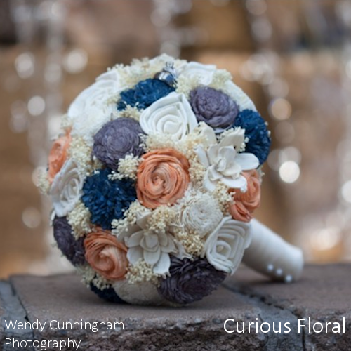 Custom Handmade Wedding Bouquet - Ivory Peach Grey Navy Bridal Bouquet