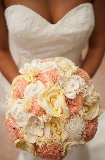 Custom Handmade Wedding Bouquet - Peach Yellow Rose Bridal Bouquet