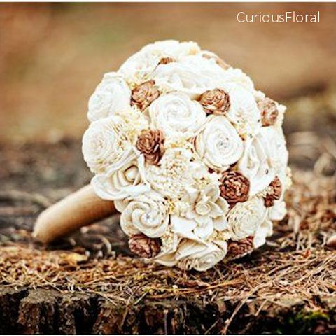 As seen in Emmaline Bride, Custom Handmade Wedding Bouquet - Cream Burlap Bridal Bouquet