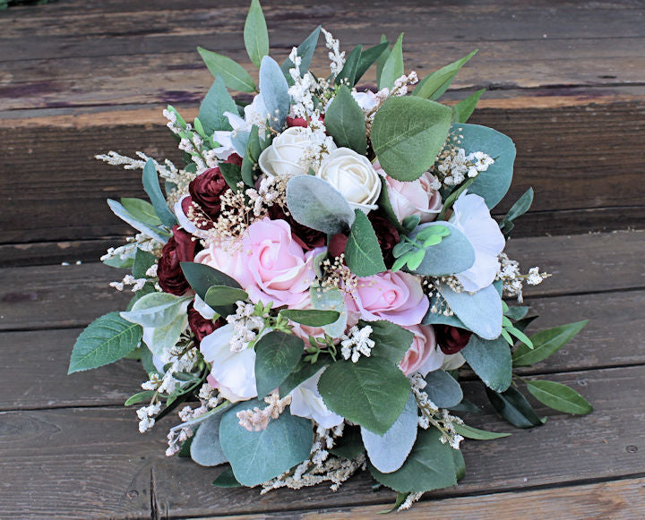 Silk & Sola Flower Bridal Bouquet - Anemones, Ranunculus, Roses, Blush, Wine, Seeded Eucalyptus, Berry Spray