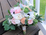 Bridal Bouquet - Faux Succulents, Silk Flowers, Sola wood Flowers, Anemones