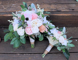 Forever Bridesmaid Bouquet - Faux Succulents, Silk Flowers, Sola Flowers, Anemones, Cottage Roses, Seeded Eucalyptus, Berry Spray, Wedding