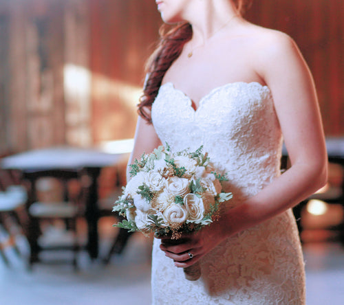 Sola Bridal Bouquet- Ivory Dusty Miller Raw Cotton Keepsake Bouquet, Rustic Wedding