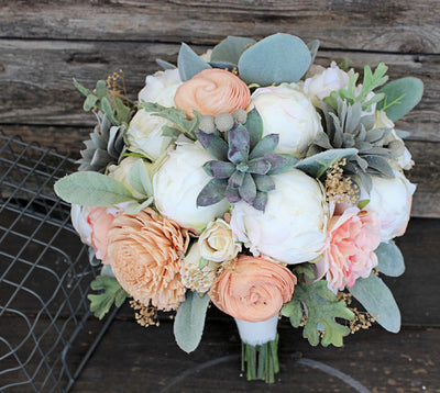 Sola Flower Bridal Bouquet - Faux Succulents, Silk Flowers, Peonies, Cottage Roses, Dusty Miller