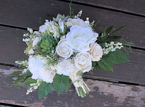 White Ivory Bridal Bouquet - Faux Succulents, Silk Flowers, Roses, Sola Flowers, Seeded Eucalyptus, Plumosa, Berry Spray, Wildflower Bouquet