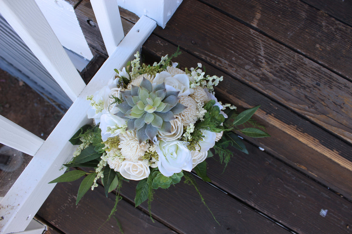 White Ivory Bridal Bouquet - Faux Succulents, Silk Flowers, Roses, Sola Flowers, Seeded Eucalyptus