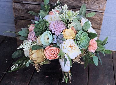 Sola Flower Bridal Bouquet, Faux Succulents, Silk Flowers, Peonies, Cottage Roses, Seeded Eucalyptus