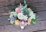 Bridal Bouquet - Sola Flowers, Faux Succulents, Silk Flowers, Peonies, Cottage Roses, Seeded Eucalyptus, Astible, Forever Bouquet