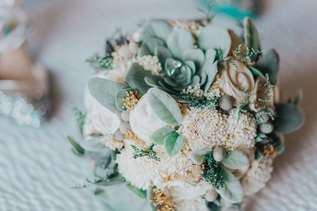 Bridal Bouquet - Artificial Succulents, Sola Wood Flowers ...