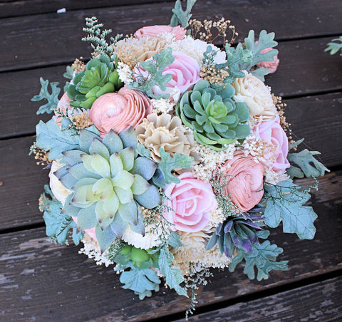 Succulent Bridal Bouquet - Faux Succulents, Dusty Miller, Sola Flowers, Keepsake Bouquet, Sola Bouquet, Rustic Wedding