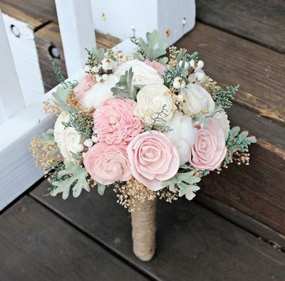 Wedding Bouquet - Sola Flowers, Ivory Blush, Dusty Miller, Raw Cotton