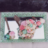 Romantic Wedding Bouquet -Pink and Mint Collection, Medium Keepsake Alternative Bouquet, Sola Bouquet, Rustic Wedding