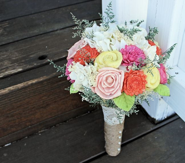 Romantic Wedding Alternative Bouquet -Pink, Orange, Yellow, Peach, Natural Bridal Bouquet, Keepsake Bouquet