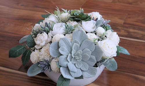 Faux succulent and sola wood flower arrangement, home decor, Birthday Flowers