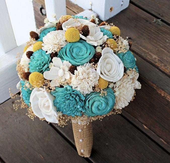 Wildflower Sola Flower Bridal Bouquet, Wedding Flowers, Billy Buttons, Pine Cones