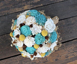 Alternative Wildflower Bridal Bouquet, Sola Flowers, Teal, Ivory, Yellow, Billy Buttons, Pine Cones, Million Star Flowers, Wedding
