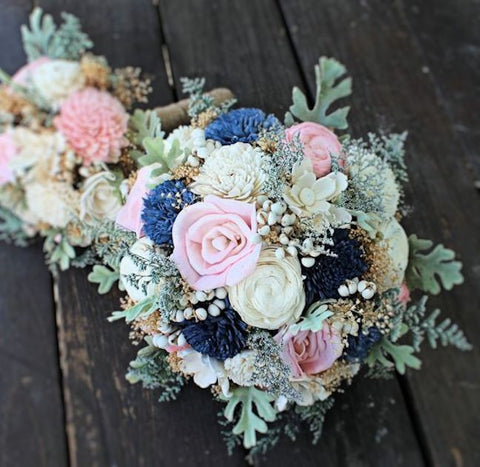Alternative Bridal Bouquet - Luxe Collection Wedding Bouquet- Sola Flowers, Dusty Miller, Navy Blush, Keepsake Bouquet