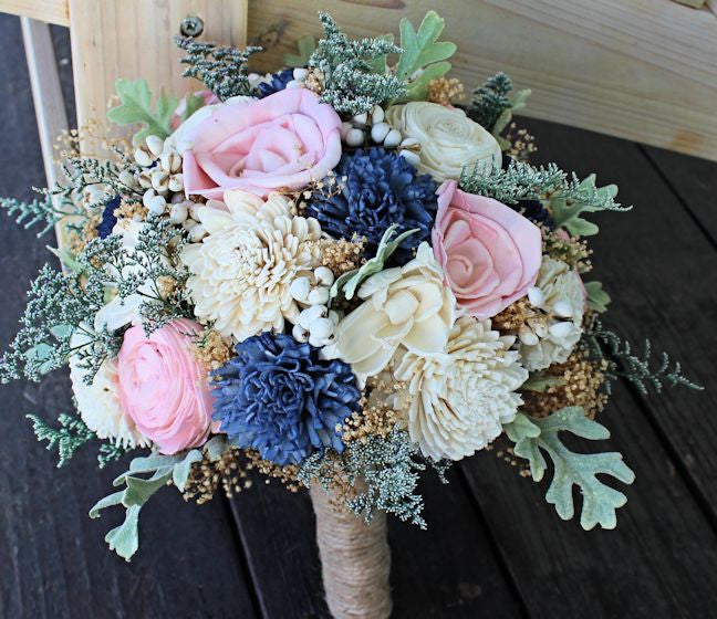 Bridal Bouquet - Wedding Bouquet- Sola Flowers, Dusty Miller, Navy Blush