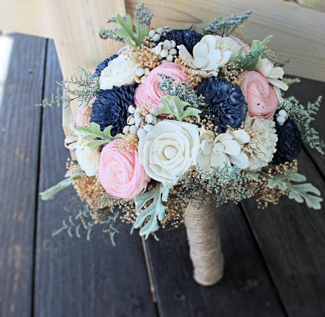 Navy And Blush Wedding.Bridal Bouquet Wedding Bouquet Sola Flowers Dusty Miller Navy Blush