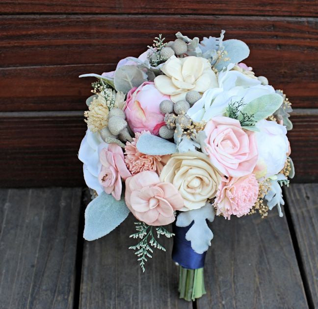 Keepsake Bridal Bouquet - Silk Flowers, Peony, Anemone, Sola Wood Flowers, Dusty Miller, Brunia