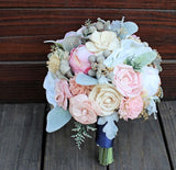 Keepsake Bridal Bouquet - Silk Flowers, Peony, Anemone, Sola Flowers, Wood Flowers, Dusty Miller, Silver Brunia, Romantic Wedding, Bespoke