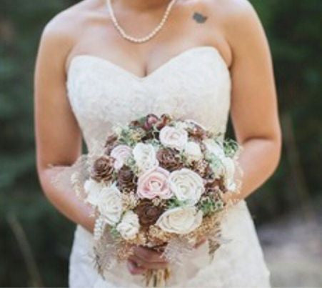 Alternative Wedding Bouquet - Luxe Collection, Sola Flowers, Pine Cones, Peony, Moss